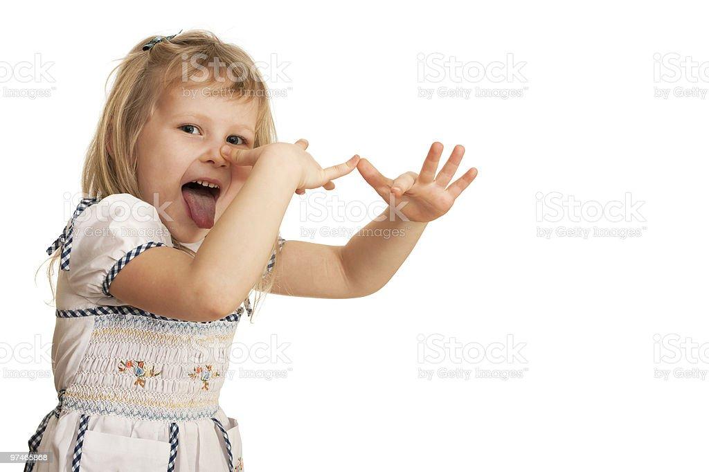 Teasing little girl stock photo