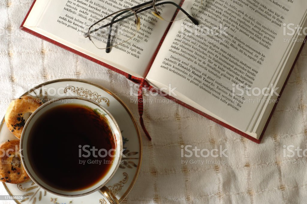 teatime and readtime stock photo