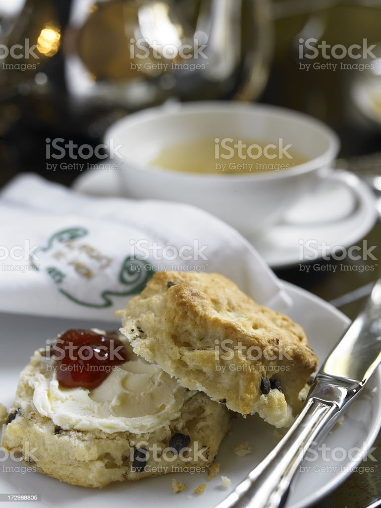 Teatime image with scone on a plate stock photo