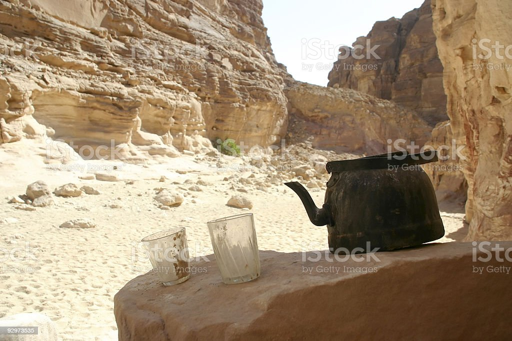 teatime in a desert. royalty-free stock photo