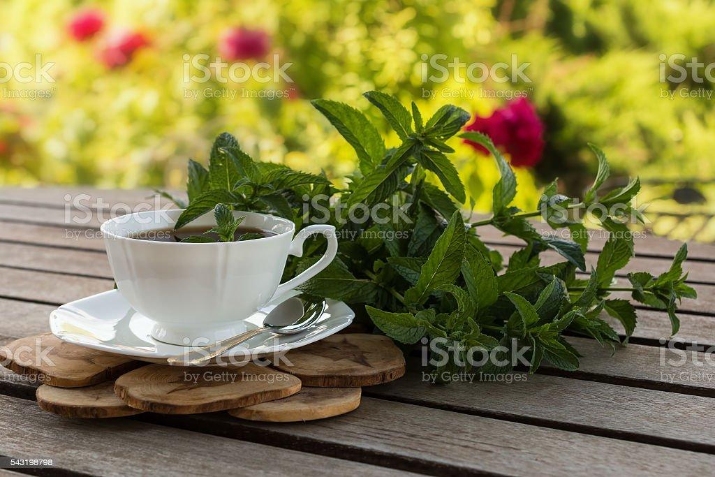 Teatime in the summer garden. stock photo