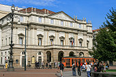 Exterior of Teatro alla Scala and Blue Sky, Milan Italy.