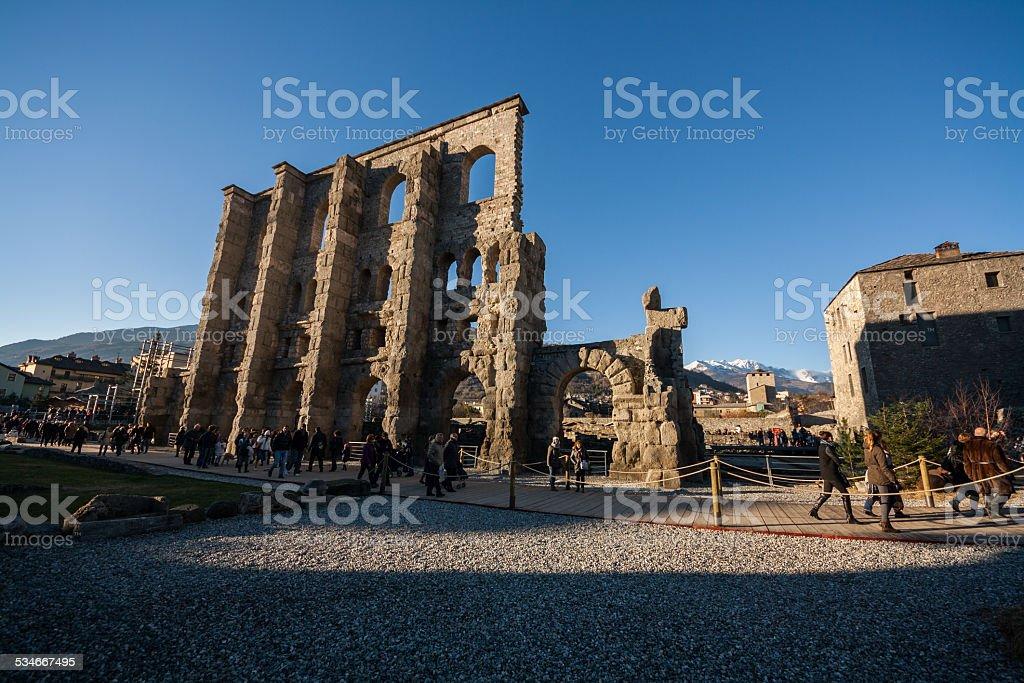 Teatro Romano,Aosta, Valle d'Aosta, Italia stock photo