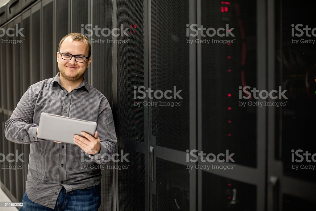 IT Tech in Server Room stock photo