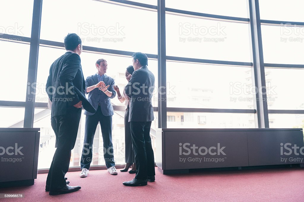 Tech Startup Entrepreneur has Business Meeting with Executive Team Japan stock photo
