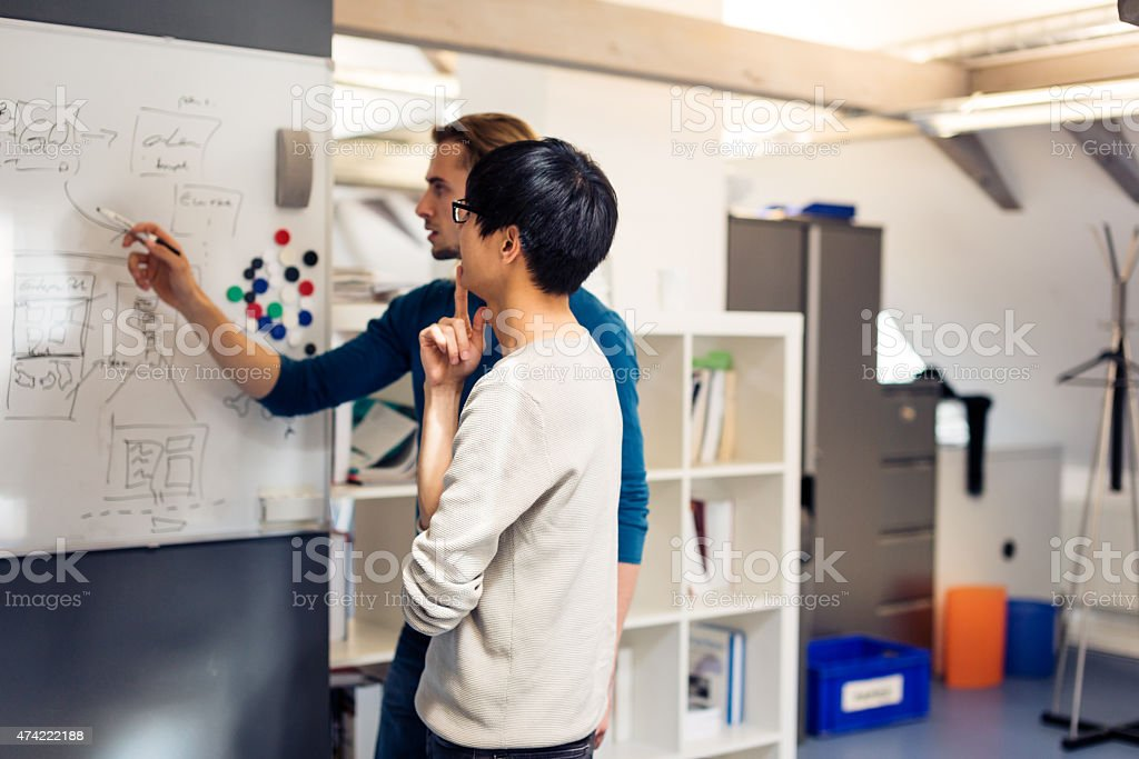 tech start-up founders working on their new product stock photo