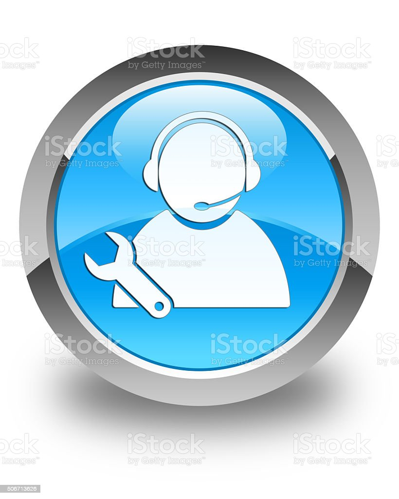 Tech support icon glossy cyan blue round button stock photo
