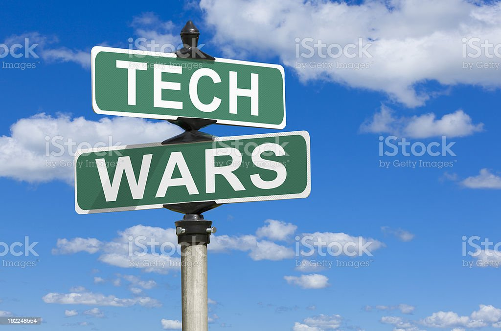 Tech Wars Street Sign stock photo