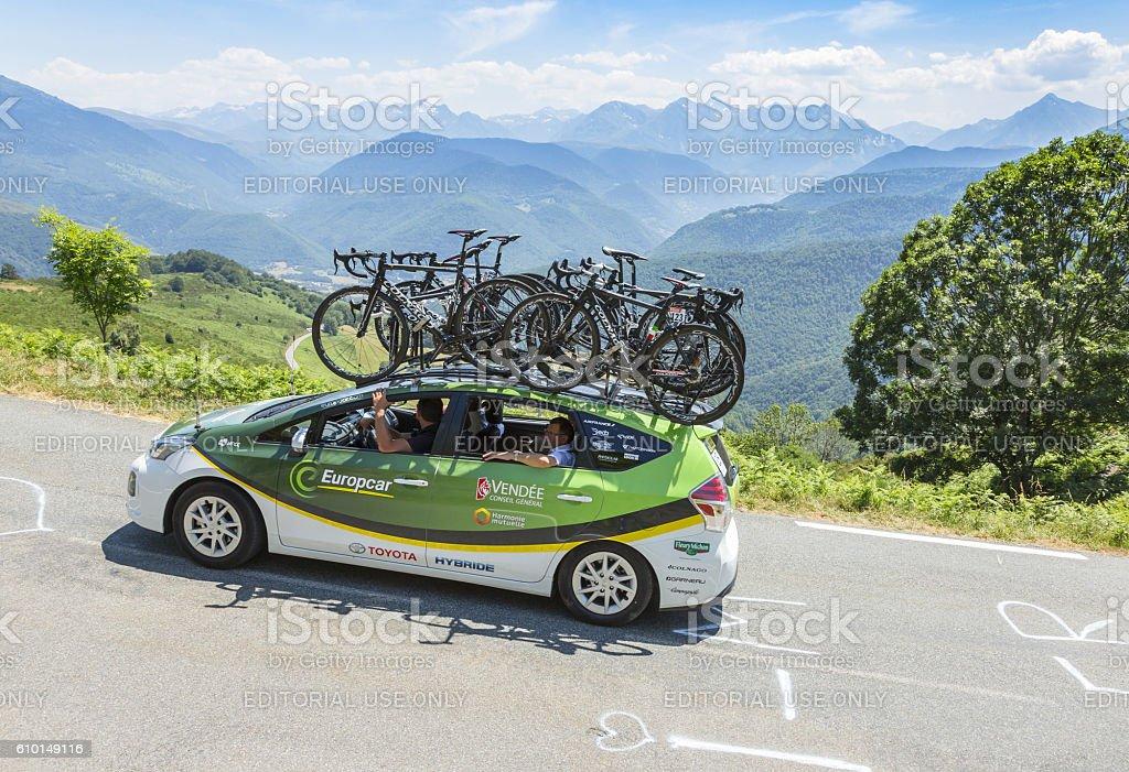 Technical Car of Europcar Team - Tour de France 2015 stock photo