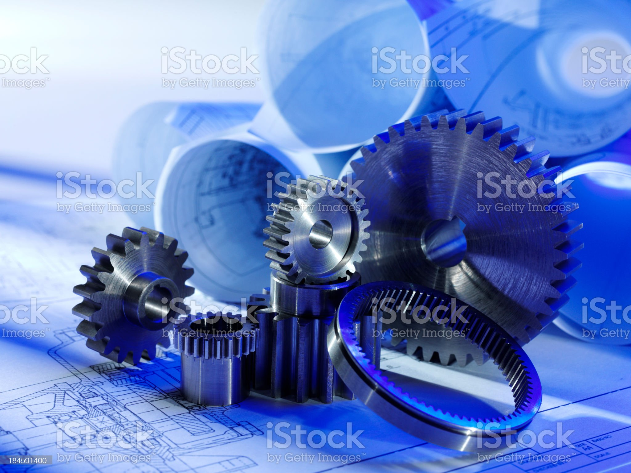 Technical Drawing and Gears royalty-free stock photo