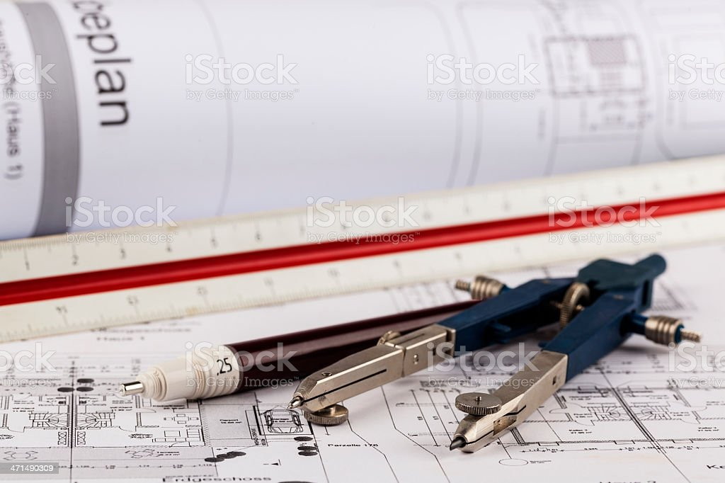 Technical drawing and tools royalty-free stock photo