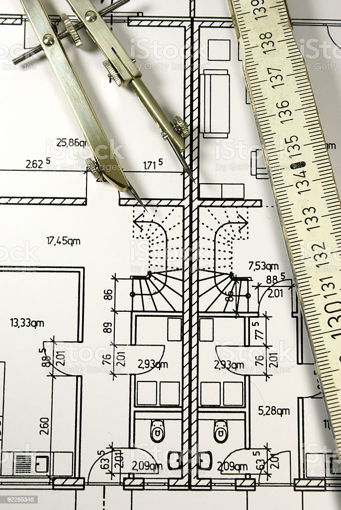 Technical drawing and tools vector art illustration