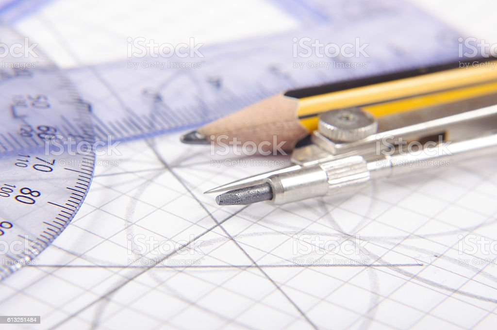 Technical drawing equipment stock photo