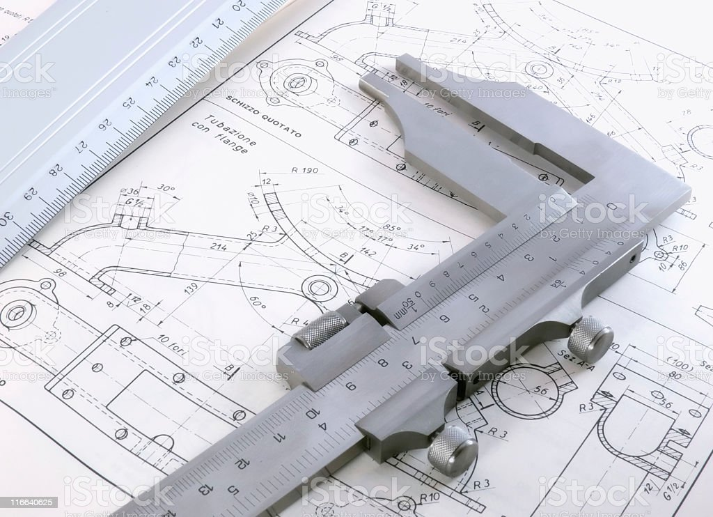 Technical drawing with caliber and ruler royalty-free stock photo