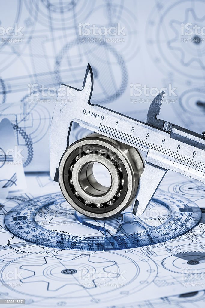 Technical drawings with the bearing royalty-free stock photo