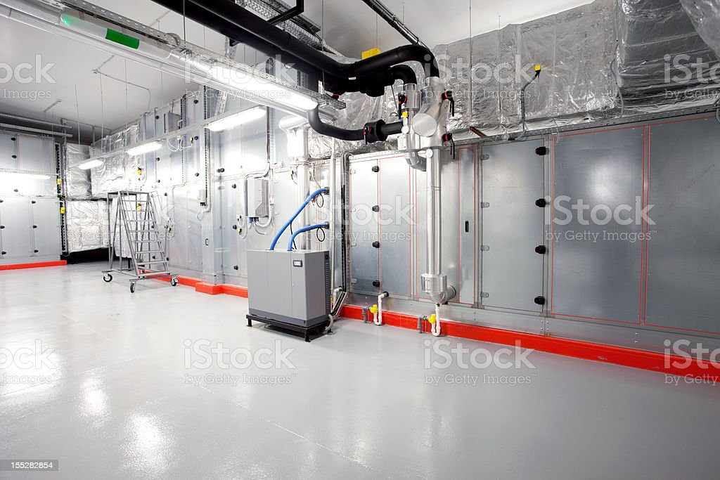Technical floor with processing units stock photo