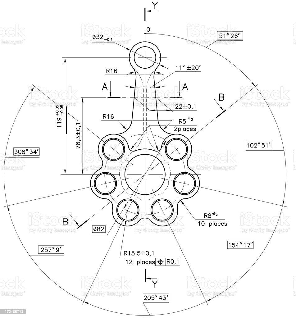 Technical industry document blueprint stock photo