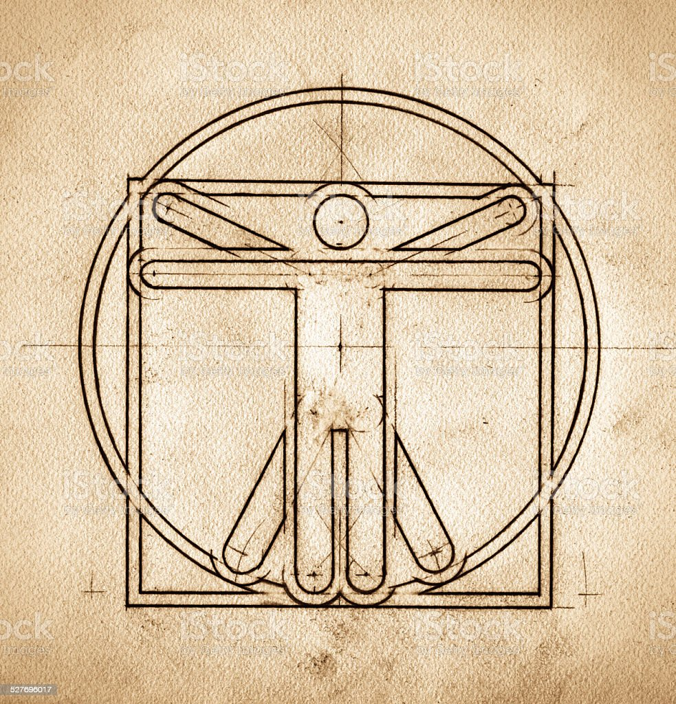 Technical Minimalistic Vitruvian Man stock photo