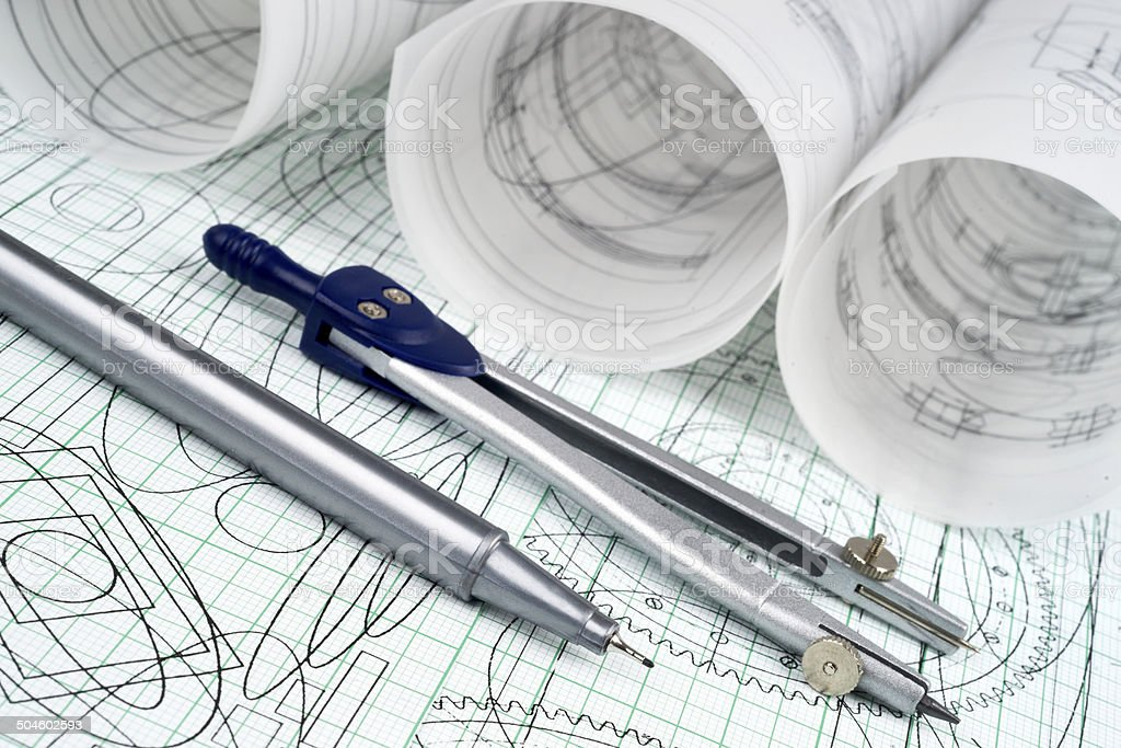 technical pen, compasses and drawings royalty-free stock photo