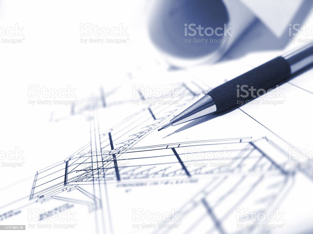 Technical Plans with pen royalty-free stock photo