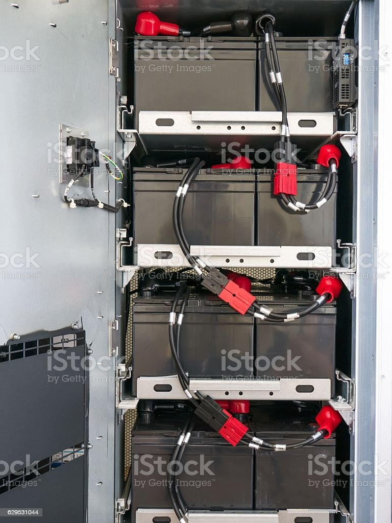 Technician maintenance large UPS 30K stock photo