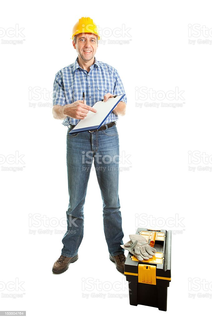 Technician offering to sign papers royalty-free stock photo