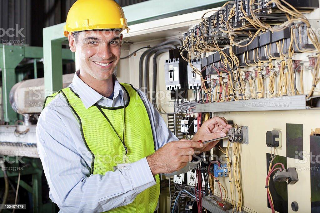 technician repairing industrial machine royalty-free stock photo