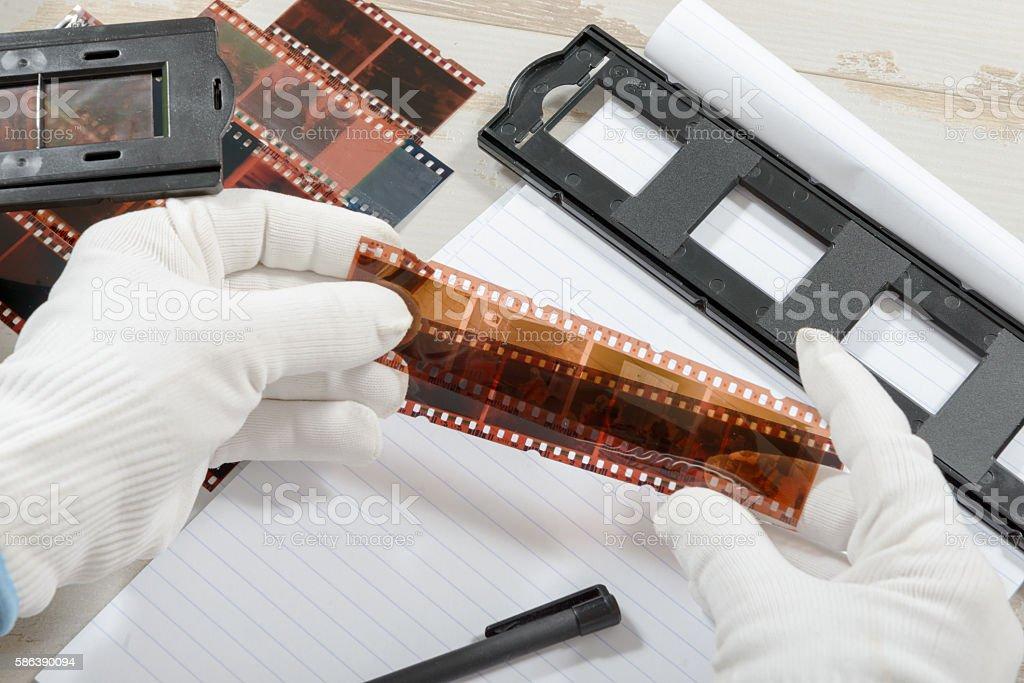 technician scan a negative film stock photo