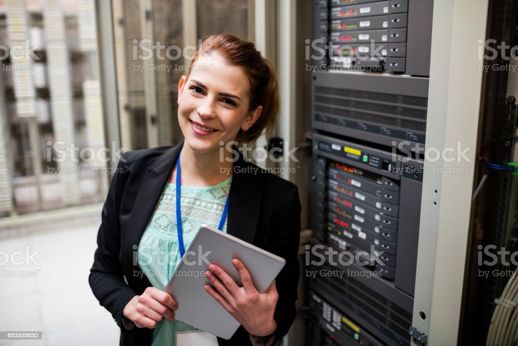 Technician using digital tablet royalty-free stock photo