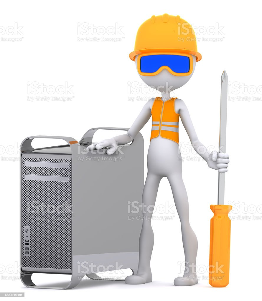 Technician with computer royalty-free stock photo