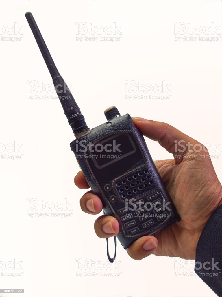 technician with radio communication. (clipping path) stock photo