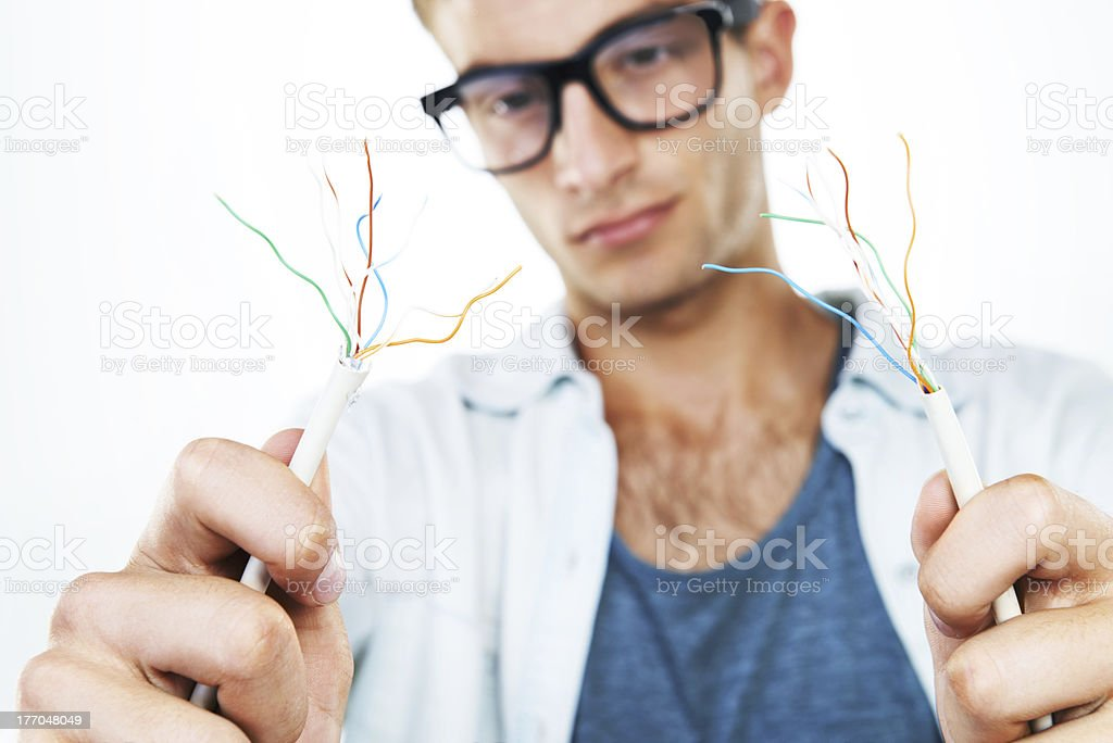 Connecting the wires royalty-free stock photo