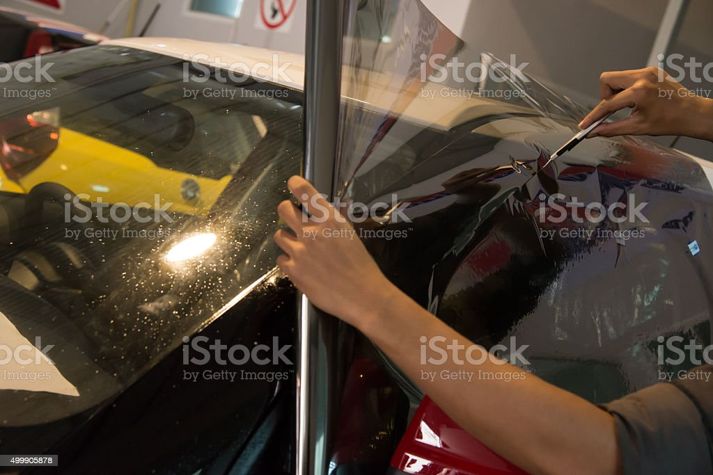 Technicians automotive films. stock photo