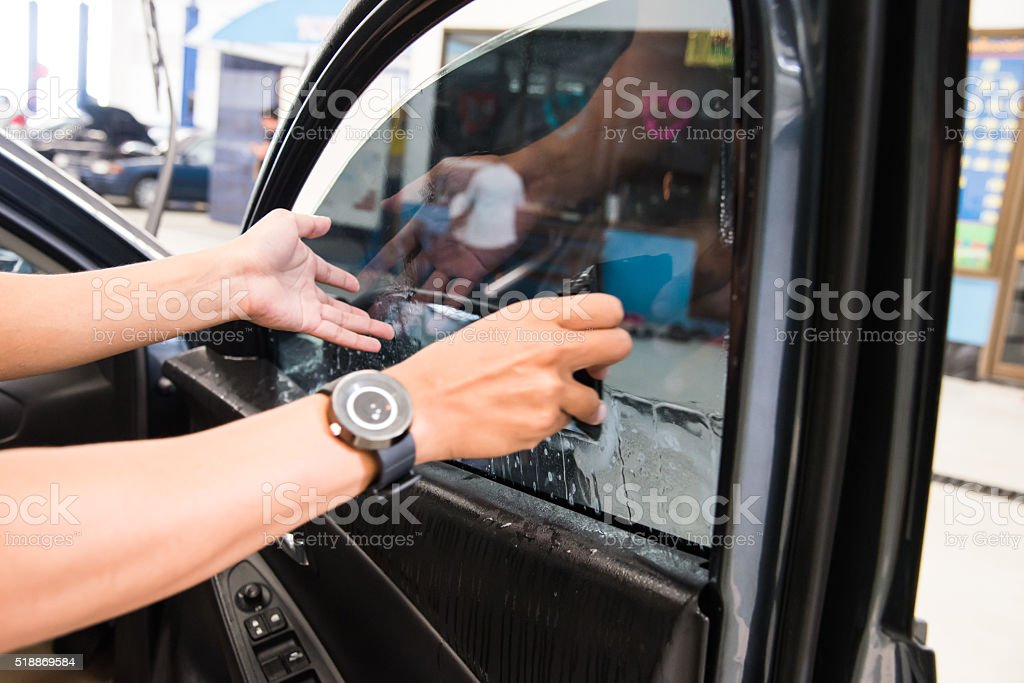 Technicians automotive films. stock photo