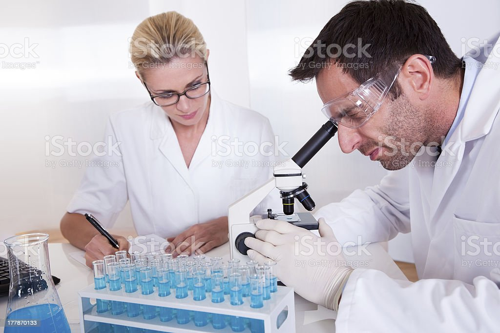 Technicians or medical staff in a laboratory royalty-free stock photo