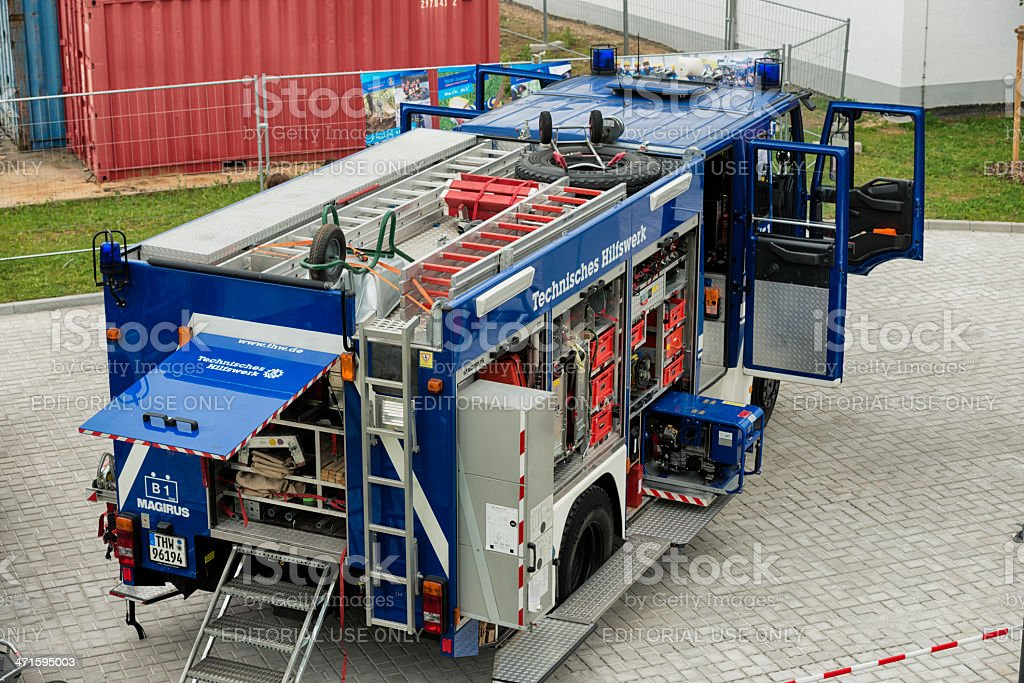 Technisches Hilfswerk, Federal agency for technial relief, THW Equipment vehicle stock photo