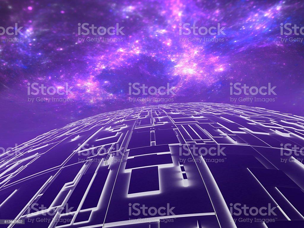 techno planet, futuristic background stock photo