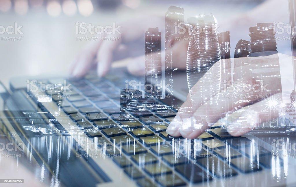 technologies, double exposure stock photo