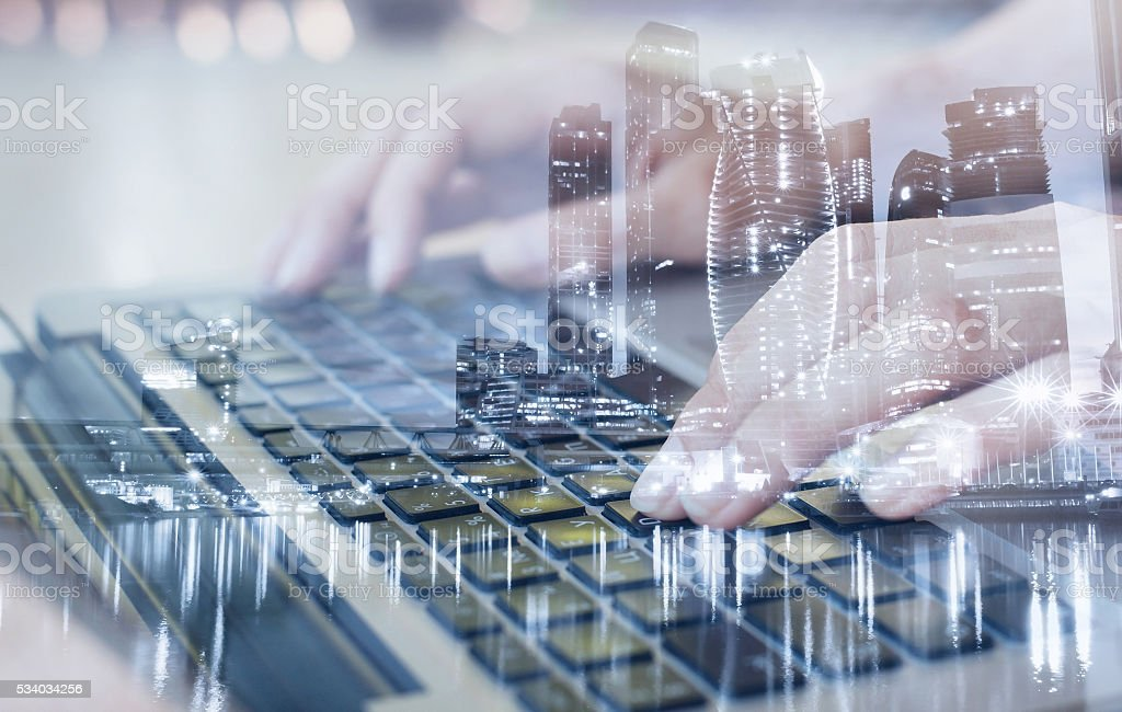 technologies, double exposure stock photo