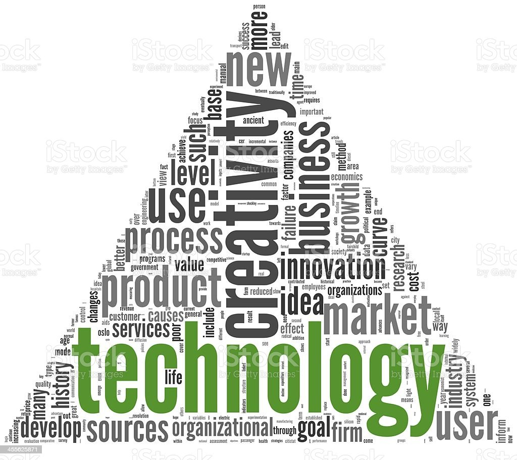 Technology and creativity concept in tag cloud stock photo