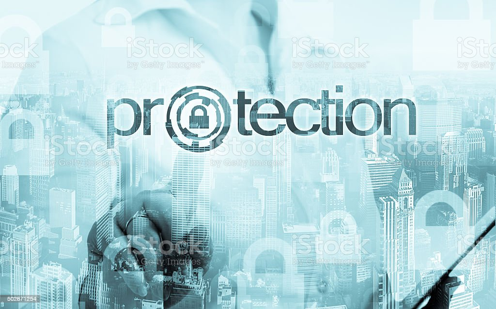 technology and internet concept - businesswoman pressing protection button stock photo