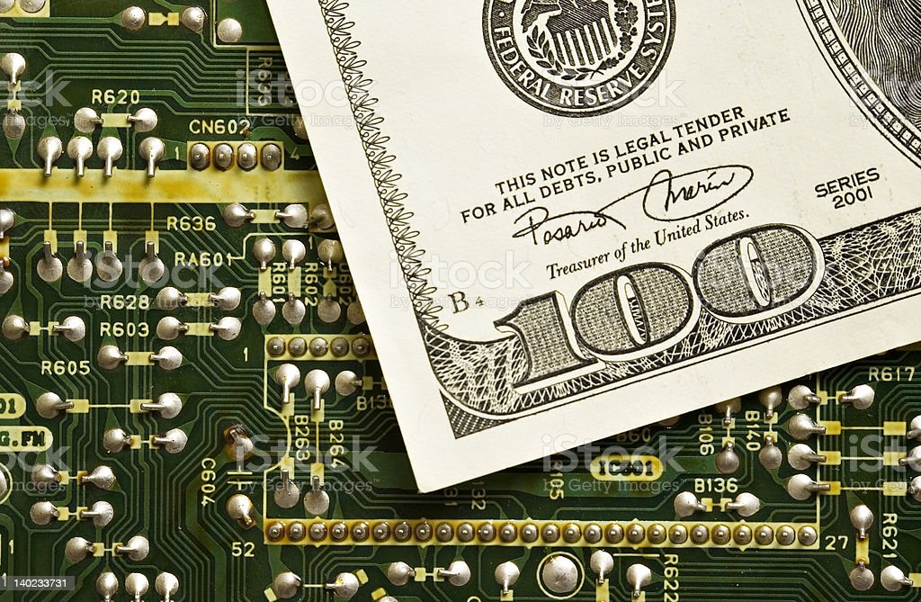 Technology and money royalty-free stock photo