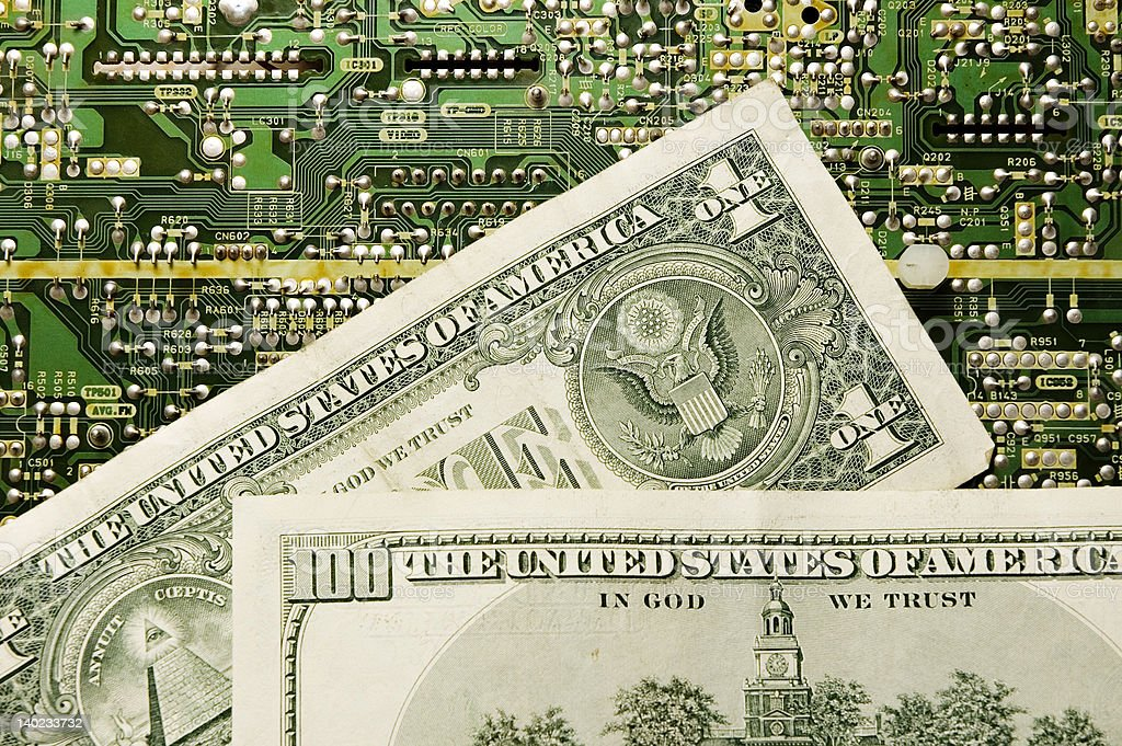 Technology and money stock photo