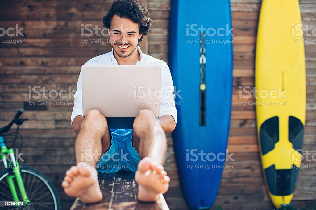 Technology and surfing stock photo
