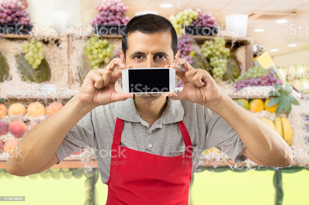 technology at my greengrocery stock photo