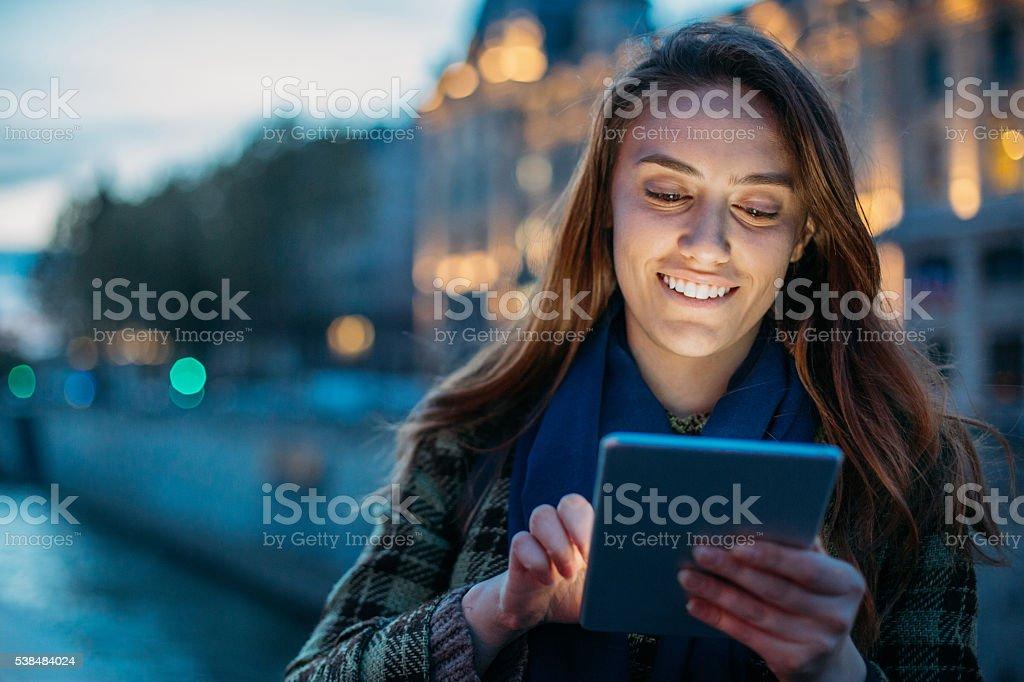 Technology at night stock photo