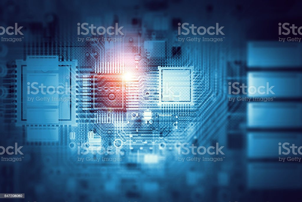 Technology background design . Mixed media stock photo