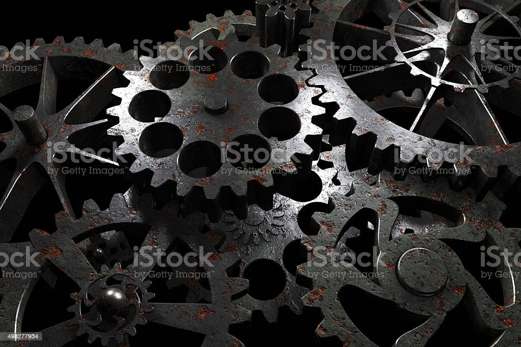 Technology background from rusty metal gears. vector art illustration