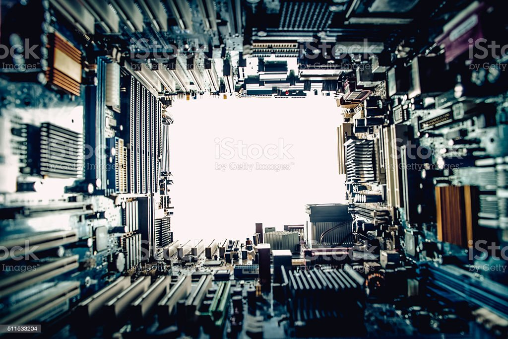 Technology Concept, White Background, Copy Space stock photo