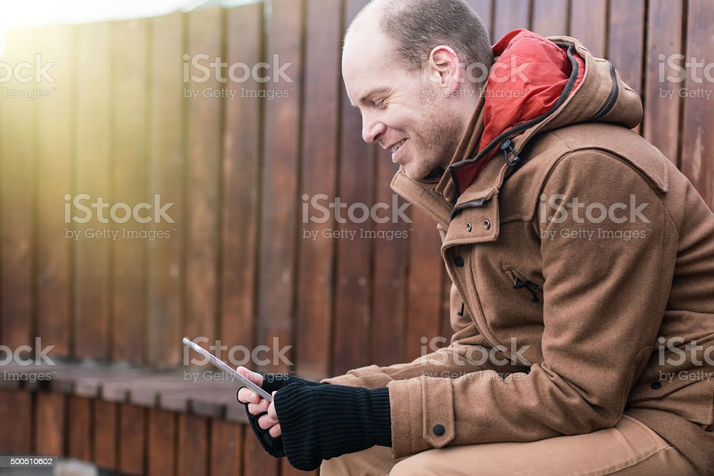 Technology connecting people stock photo